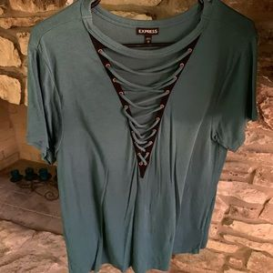 Blouse/shirt.. cotton with lace up detail